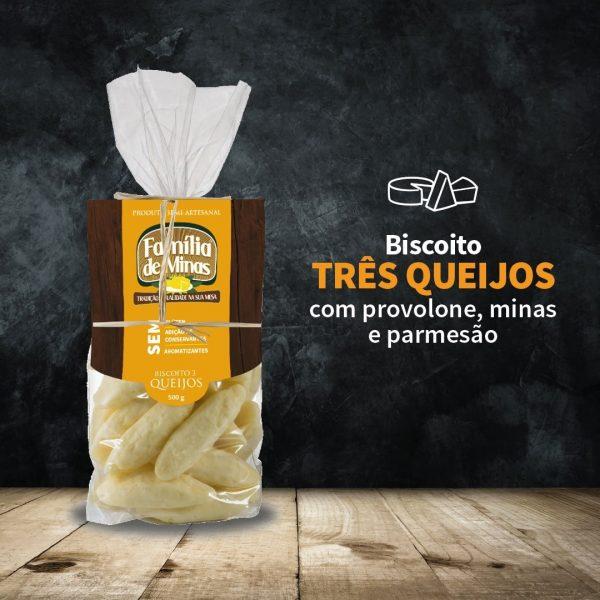 Biscoito 3 queijos 500g - Família de Minas